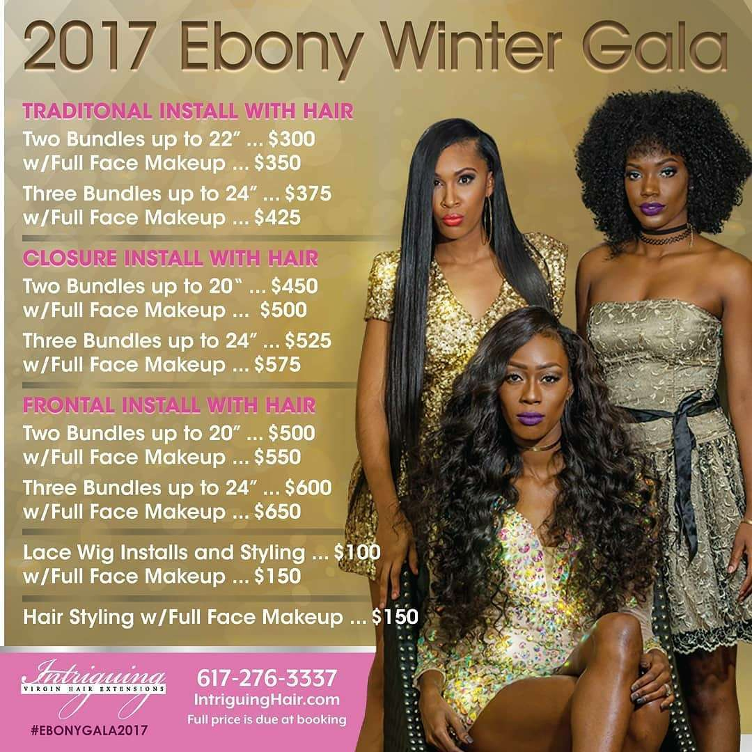 Ebony Gala Hair with Install Packages $50 off