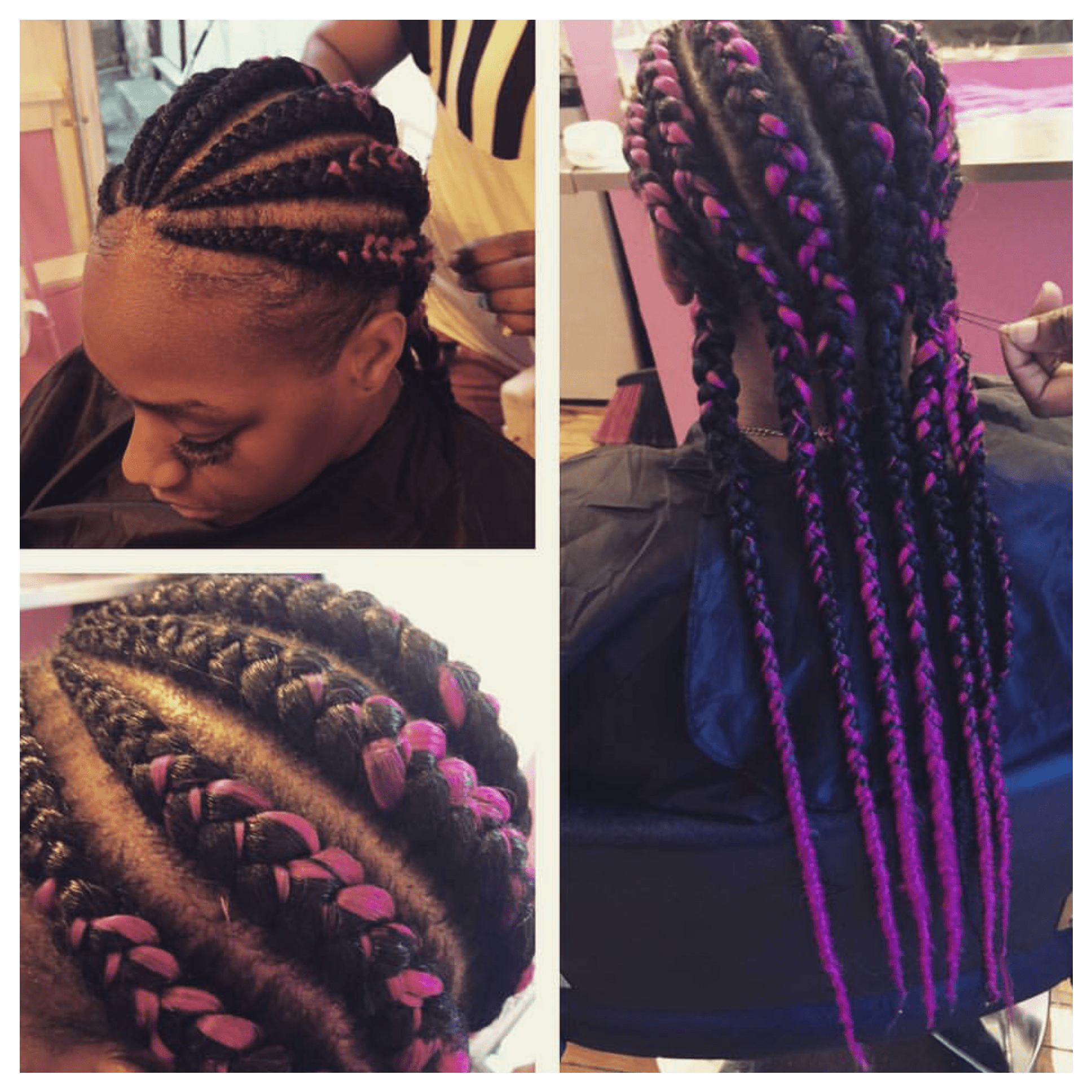 Intriguing Two Tone Braiding Hair Pink
